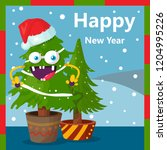happy new year greetings with... | Shutterstock .eps vector #1204995226