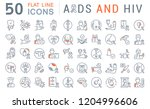 set of vector line icons with... | Shutterstock .eps vector #1204996606