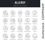 set of linear icons of allergy... | Shutterstock .eps vector #1204996609
