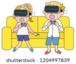 virtual reality vr a couple | Shutterstock .eps vector #1204997839