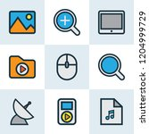 multimedia icons colored line... | Shutterstock .eps vector #1204999729