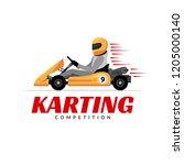 kart driver sport logo icon....   Shutterstock . vector #1205000140