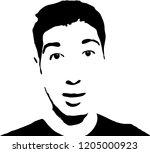 graffiti stencil face. young... | Shutterstock .eps vector #1205000923