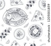 food seamless pattern.  hand... | Shutterstock .eps vector #1205001859