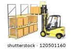 forklift truck loads pallet on... | Shutterstock . vector #120501160