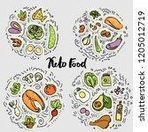keto food  ketogenic healthy... | Shutterstock .eps vector #1205012719