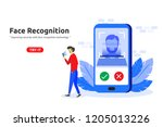 face recognition technology... | Shutterstock .eps vector #1205013226