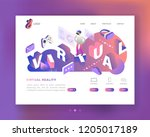 virtual reality isometric... | Shutterstock .eps vector #1205017189