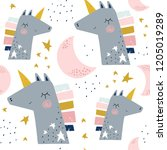 seamless childish pattern with... | Shutterstock .eps vector #1205019289