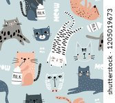seamless pattern with different ... | Shutterstock .eps vector #1205019673