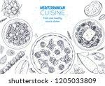mediterranean cuisine top view... | Shutterstock .eps vector #1205033809