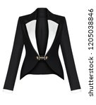 Small photo of Luxury women's classic evening jacket, black, with a turndown white satin collar, clipping, isolated on white background, ghost mannequin