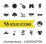 season icons set with anchor ...