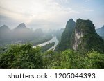 guilin yangshuo mountain range | Shutterstock . vector #1205044393