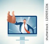managers hand comes out of the... | Shutterstock .eps vector #1205051236