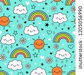 cute hand drawn cartoon cloud ... | Shutterstock .eps vector #1205056990