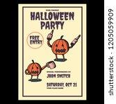 halloween party flyer banner... | Shutterstock .eps vector #1205059909