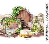 watercolor barrel  box of white ...   Shutterstock . vector #1205063806