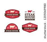 set of steak house logo template | Shutterstock .eps vector #1205069980