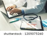 doctor working with medical... | Shutterstock . vector #1205075260