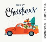 merry christmas stylized... | Shutterstock .eps vector #1205075416