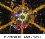 aerial view highway road 6 way... | Shutterstock . vector #1205076919