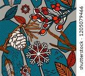 winter berries seamless pattern. | Shutterstock .eps vector #1205079466