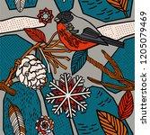 winter berries seamless pattern. | Shutterstock .eps vector #1205079469