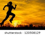 Silhouette Of The Running Girl...