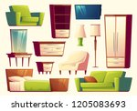 cartoon set of furniture  ... | Shutterstock . vector #1205083693