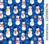 seamless christmas pattern with ... | Shutterstock .eps vector #1205084746