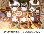 big family have a dinner with... | Shutterstock . vector #1205086429