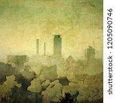 grunge cracked city skyline in... | Shutterstock . vector #1205090746