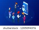 isometric online voice...   Shutterstock . vector #1205094376