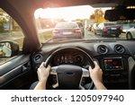 driving car in traffic jam  ...   Shutterstock . vector #1205097940