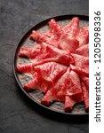 japanese kobe beef sliced on...   Shutterstock . vector #1205098336