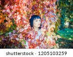 beautiful girl in the autumn... | Shutterstock . vector #1205103259