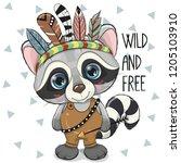 cute cartoon tribal raccoon...   Shutterstock .eps vector #1205103910