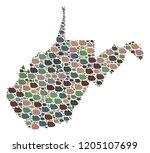 mosaic map of west virginia...   Shutterstock .eps vector #1205107699