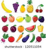 cartoon fruits and vegetables | Shutterstock .eps vector #120511054
