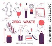 zero waste hand drawn elements... | Shutterstock .eps vector #1205111050