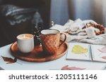 cozy autumn or winter morning...   Shutterstock . vector #1205111146