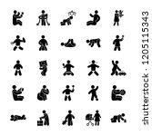 kids glyph vectors set  | Shutterstock .eps vector #1205115343