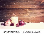 candle and christmas... | Shutterstock . vector #1205116636