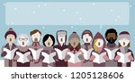 group of christmas carol... | Shutterstock .eps vector #1205128606