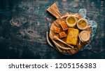 a set of honey and bee products.... | Shutterstock . vector #1205156383