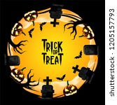 halloween invitation party with ... | Shutterstock .eps vector #1205157793