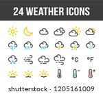 weather forecast. set of... | Shutterstock .eps vector #1205161009