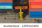 container ship in export and... | Shutterstock . vector #1205161603