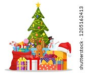 christmas tree decorated with... | Shutterstock .eps vector #1205162413